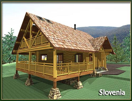 Slokana log home log cabin floor plans under 1500 sq ft for Square log cabin plans