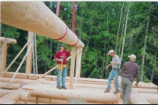 Mike placing Log Purlin